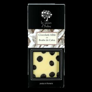 Tabletă de ciocolată albă și boabe de cafea