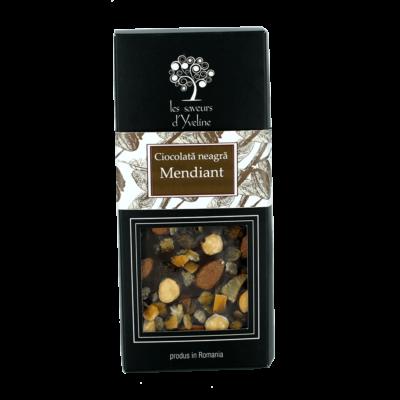 Tabletă de ciocolată neagră mendiant